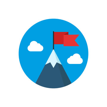 Mountain with red flag illustration. Vector.