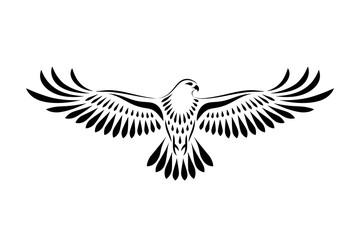 Engraving of stylized hawk. Decorative bird. Linear drawing. Flying bird. Stencil art Fototapete