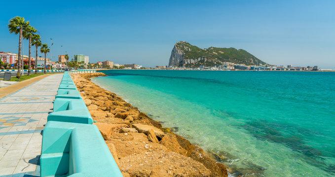 Gibraltar rock as seen from La Linea de la Concepcion, in Spain.