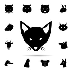 head of a fox silhouette icon. Universal set of animals for website design and development, app development
