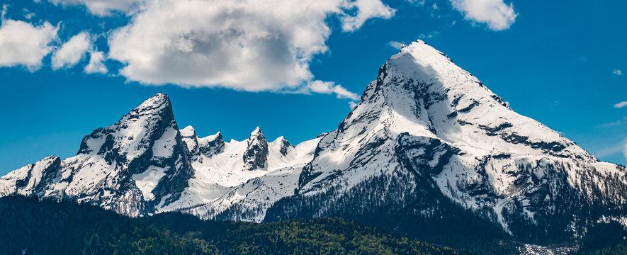 Beautiful view of the famous Watzmann summit near Berchtesgaden - Bavaria - Germany