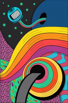 Psychedelic hallucination, Bright vector illustration,