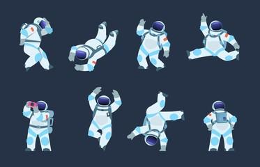 Cartoon astronaut. Dancing party cosmonaut, retro disco spaceman, comic space dancer. Vector comics astronaut illustration in different poses