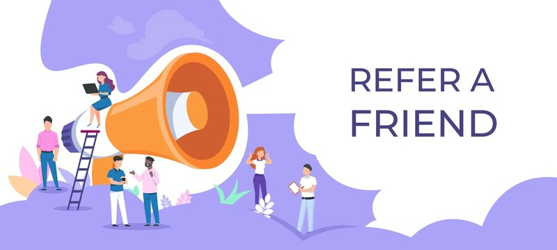 Refer a friend. People group with megaphone, attracting audience concept, team work business poster. Vector recommend friendly announcement banner