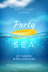 Realistic summer poster. Sea underwater pool party design, ocean beach event banner with waves sky and bottom. Vector summer marine landscape affiche