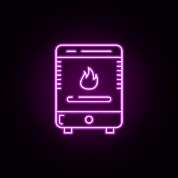 furnace, heater stove neon icon. Elements of water, boiler, thermos, gas, solar set. Simple icon for websites, web design, mobile app, info graphics