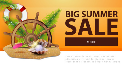Big summer sale, discount web banner with steering wheel of the ship in the sand, palm leaves and pearl