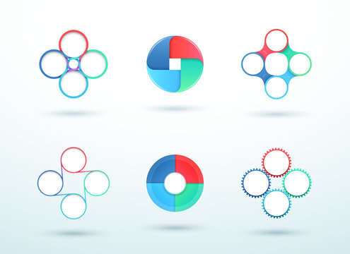 4 Point Connected Circle Cycle Diagram Vector Set