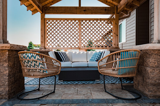 Outdoor pergola and modern luxury patio furniture design