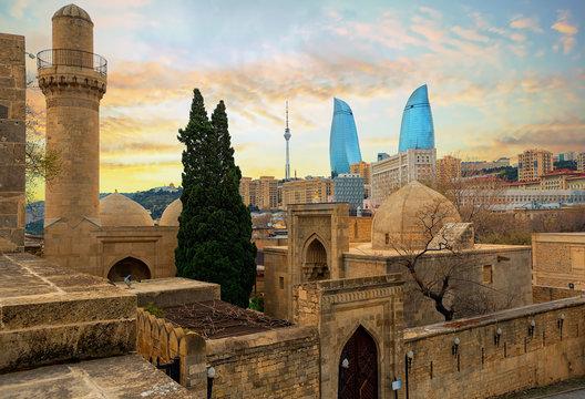 Old and modern architecture in Baku city, Azerbaijan