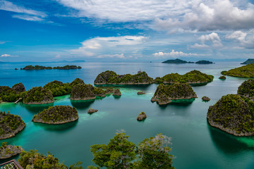 Waigeo, Kri, Mushroom Island, group of small islands in shallow blue lagoon water, Raja Ampat, West Papua, Indonesia