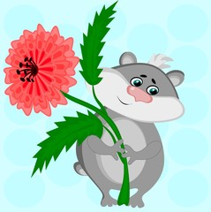 I give you a flower. The picture shows a gray hamster with a lush red flower in its paws, a gift, a gift, love