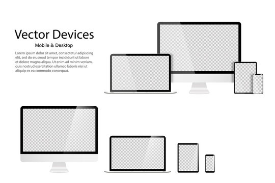 High detailed realistic set of divices Monitor laptop tablet and phone. Transparent mock up screens. Responsive design template for web or application.