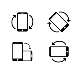 Rotate smartphone icon isolated. Mobile screen rotation. Horisontal or vertical rotation icons.