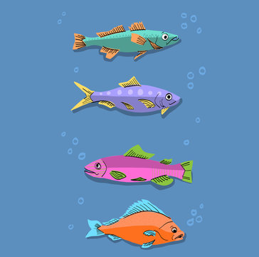 Cute and Colorful Fish Illustration