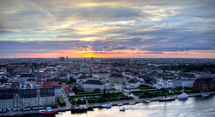Aerial view of Amalienborg Castle, Denmark at sunset