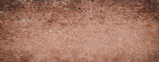 Panoramic Old messy Brick Wall Background.