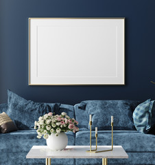 Poster mock up in hipster interior  background, dark blue room with bouquet on table, 3d render