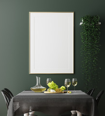 Poster, wall mock up in dark green dining room interior, 3d render