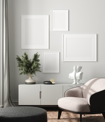 Modern interior, natural pastel colors room background with poster mock up, 3d render