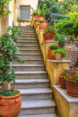 Fototapete - Old narrow street in Plaka district, Athens, Greece. Plaka is a famous tourist attraction of Athens. Vintage steps with flowers. Beautiful stair of cozy alley on Acropolis slope in the Athens center.