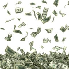 dollars bills falling on heap of money 3d illustration