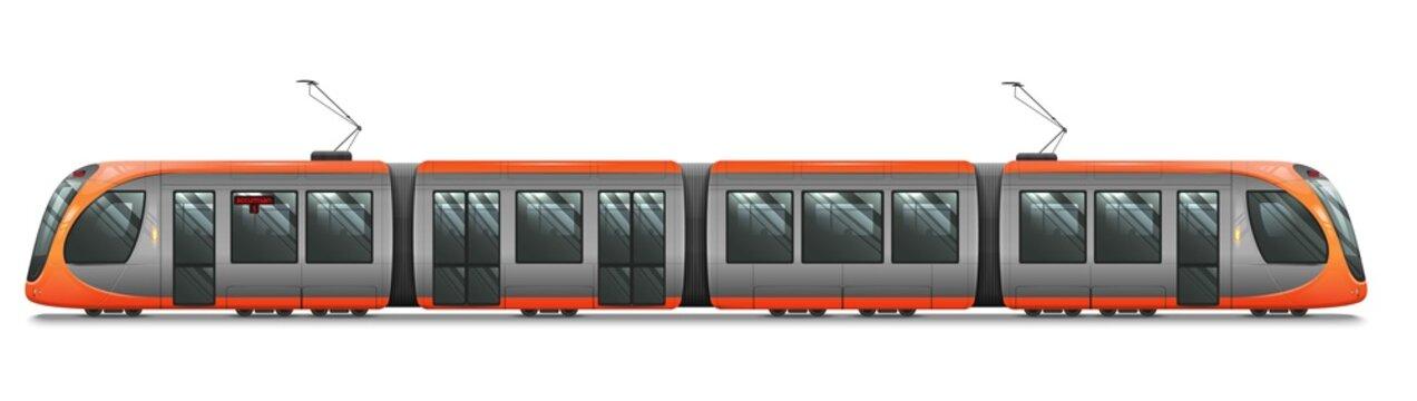 Passenger Tram Train, Streetcar. Modern Urban Tramcar. City Electric transport Isolated on white