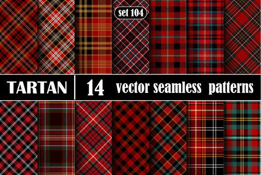 Set Red Tartan Seamless Pattern