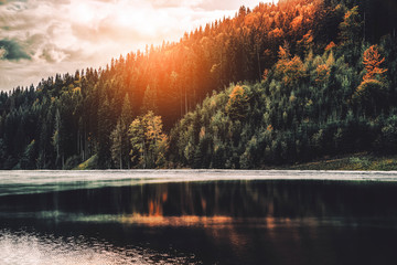 Aluminium Prints Coral Forested mountain slope with evergreen conifers and lake shrouded in mist in a scenic landscape view. Sunset in mountains. Tourism concept. Season autumn. Travel background