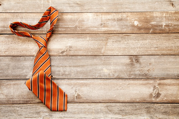 Neckties on wooden background. Top view. Father's Day.