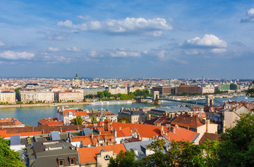 Beautiful view of Budapest historic center with the famous St Stepehn Basilica and Danube River