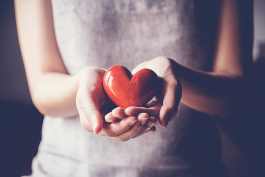 woman holding red heart, health insurance, donation charity concept, world health day, world mental health day, world heart day, foster care, gratitude, kind, thankful, hope, all lives matter, concept