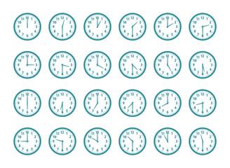 時計 30分単位 青緑