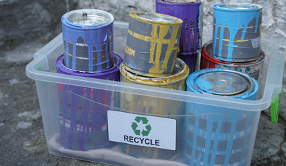A lot of leftover paint and a lot of empty paint cans that contain with dried paint. Recycle and Dispose of Oil-Based Paint Cans or Chemicals. Hazardous wastes that are ignitable, reactive, corrosive