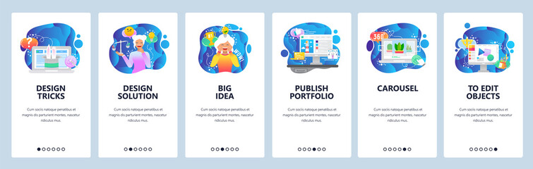 Mobile app onboarding screens. Design solutions, creative idea, portfolio . Menu vector banner template for website and mobile development. Web site design flat illustration
