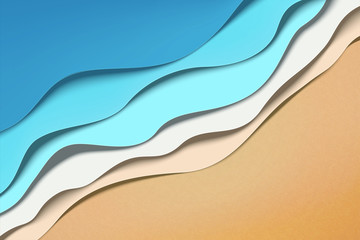 Paper art wave tides Fototapete