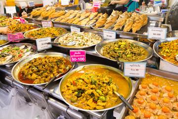 Thai food on a stall at Or Tor Kor market, Chatuchak, Bangkok, Thailand