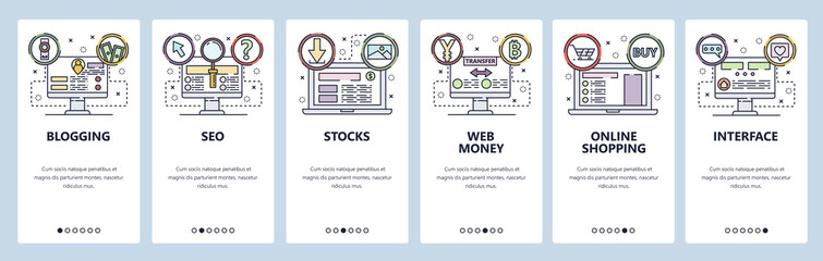 Mobile app onboarding screens. SEO and digital marketing, online shopping, web money. Menu vector banner template for website and mobile development. Web site design flat illustration Wall mural
