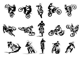 Extreme bike big vector set 14x, motocross Papier Peint