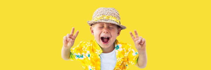 Child in yellow hawaiian shirt and straw hat shouts Wall mural