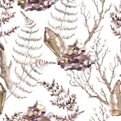 Watercolor seamless pattern with transparent shiny crystals and forest fern.