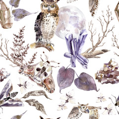 Watercolor seamless pattern with moths, owls, crystals, moon and flowers. Dark mystical colors