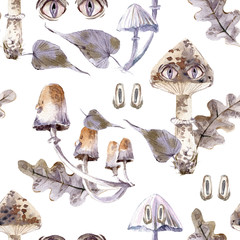 Watercolor seamless pattern with mystical mushrooms with eyes