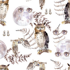 Watercolor seamless pattern with eyes, owls, moon and fern. Dark mystical colors