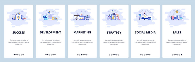 Mobile app onboarding screens. Business strategy, social media, online shopping and sales, digital marketing. Menu vector banner template for website and mobile development. Web site flat illustration