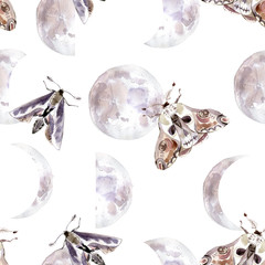 Watercolor seamless pattern with moths and moon phases. Dark mystical colors