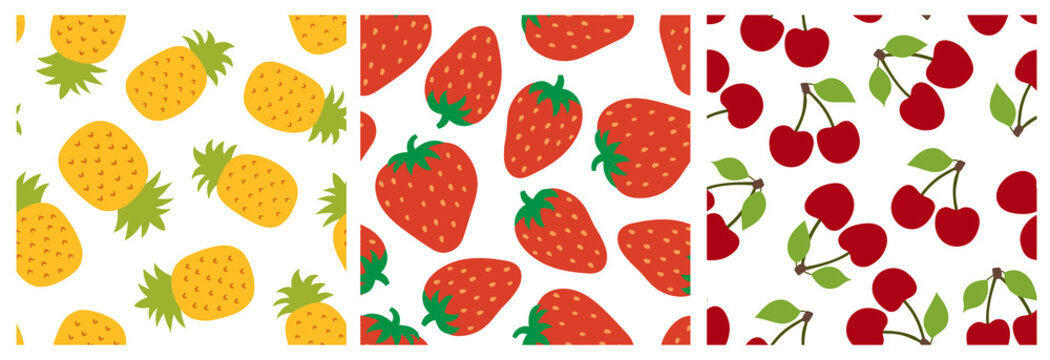 Fruit seamless pattern set. Pineapple, strawberry and cherry. Fashion design. Food print for clothes, linens or curtain. Hand drawn vector sketch. Exotic background collection