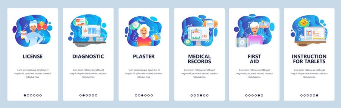 Mobile app onboarding screens. Drugs information, first aid, nurse, medical records. Menu vector banner template for website and mobile development. Web site design flat illustration