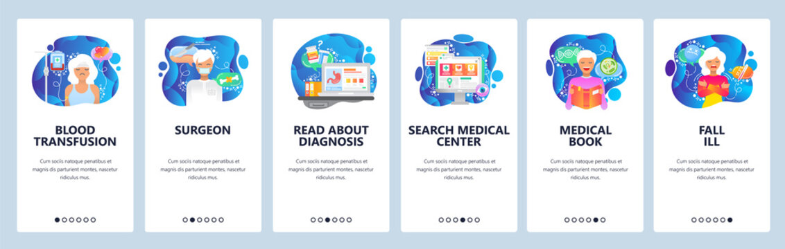 Mobile app onboarding screens. Surgeon doctor, blood transfusion, medical book, sick female patient. Menu vector banner template for website and mobile development. Web site design flat illustration