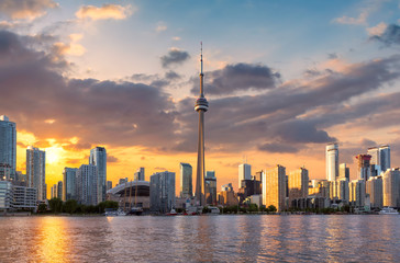 Photo sur cadre textile Canada Toronto City skyline at sunset, Toronto, Ontario, Canada
